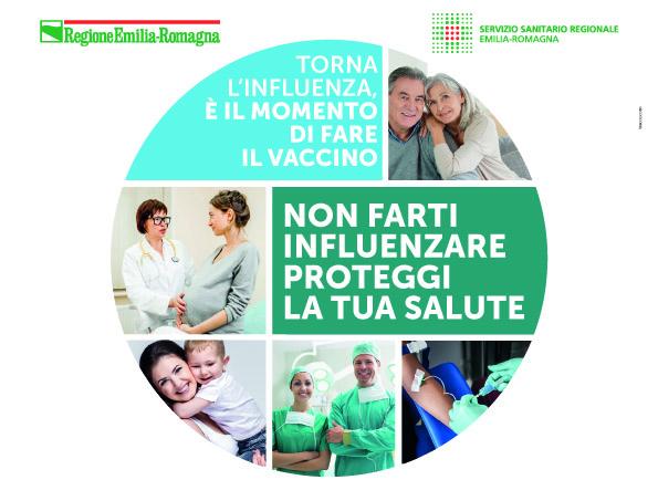 Locandina torna l'influenza. non farti influenzare proteggi la tua salute