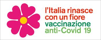 Logo Primula e slogan L'Italia rinasce con un fiore vaccinazione Anti-Covid 19
