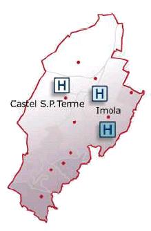 Cartina geografica del territorio coperto dall'Ausl di Imola
